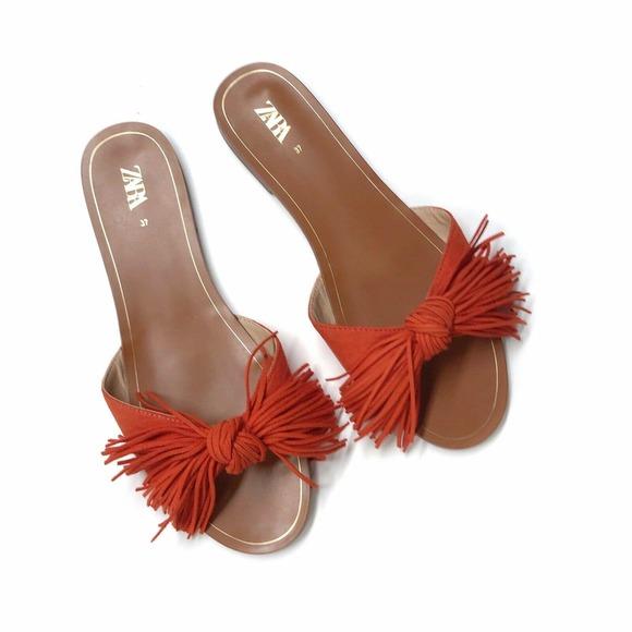 ZARA Orange Fringed Sandals Size: 6 NWT